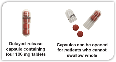 Photo of DELZICOL capsule showing four 100 mg tablets inside; second photo with DELZICOL capsule opened to show 100 mg tablets outside of capsule for dosing flexibility.